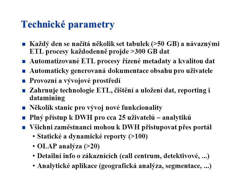 Technické parametry Každý den se načítá několik set tabulek (>50 GB) a návaznými ETL procesy každodenně projde >300 GB dat.