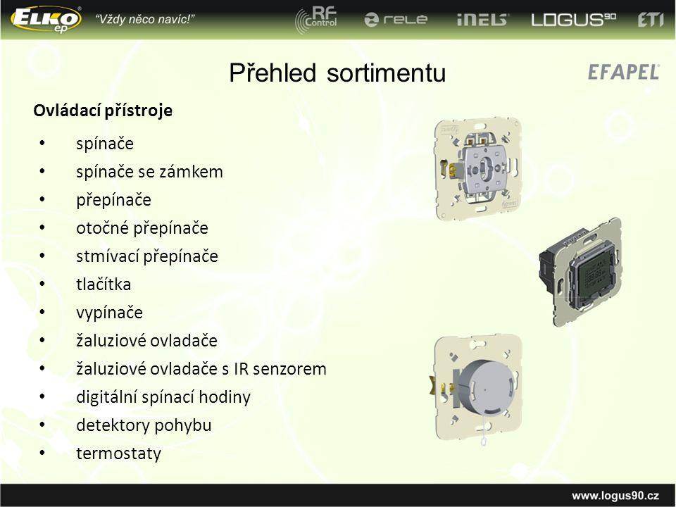 Přehled sortimentu Ovládací přístroje spínače spínače se zámkem