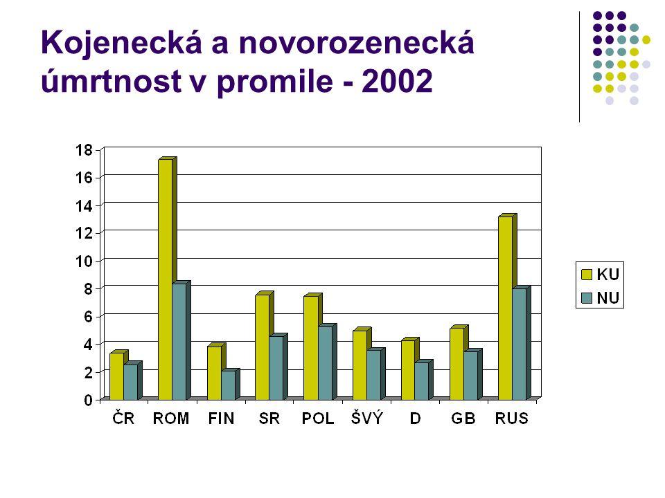 Kojenecká a novorozenecká úmrtnost v promile - 2002