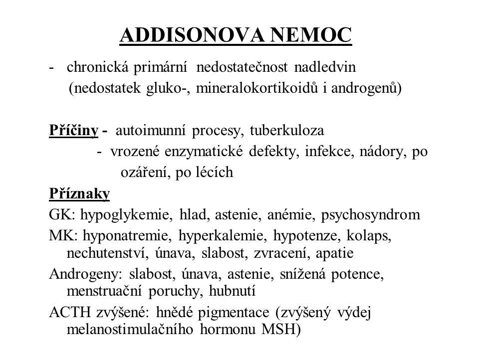 ADDISONOVA NEMOC chronická primární nedostatečnost nadledvin