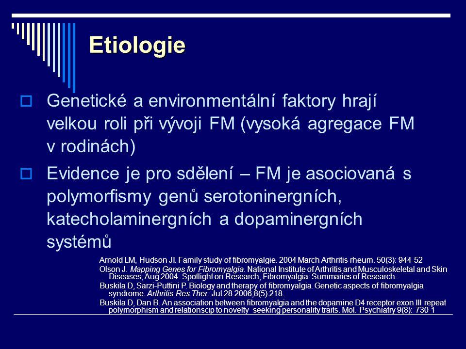Etiologie Genetické a environmentální faktory hrají velkou roli při vývoji FM (vysoká agregace FM v rodinách)