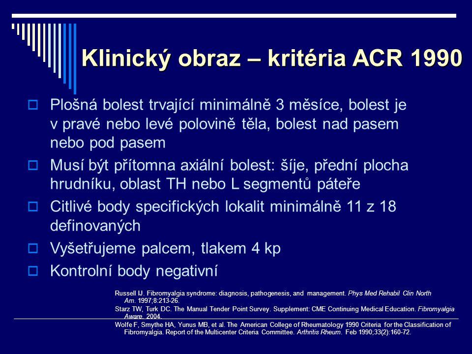 Klinický obraz – kritéria ACR 1990