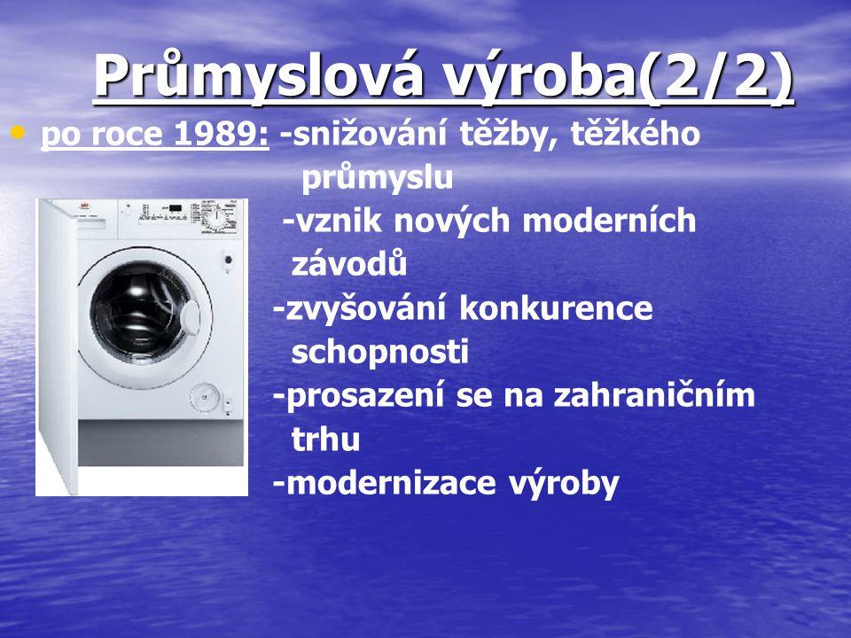 Průmyslová výroba(2/2) po roce 1989: -snižování těžby, těžkého