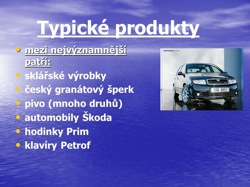 Typické produkty mezi nejvýznamnější patří: sklářské výrobky