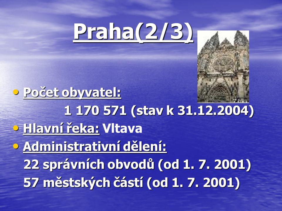 Praha(2/3) Počet obyvatel: 1 170 571 (stav k 31.12.2004)