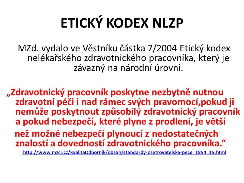 ETICKÝ KODEX NLZP MZd. vydalo ve Věstníku částka 7/2004 Etický kodex nelékařského zdravotnického pracovníka, který je závazný na národní úrovni.