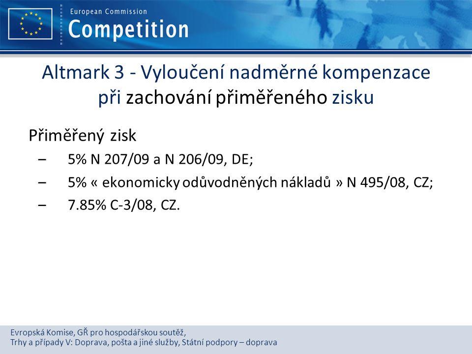Altmark 3 - Vyloučení nadměrné kompenzace při zachování přiměřeného zisku