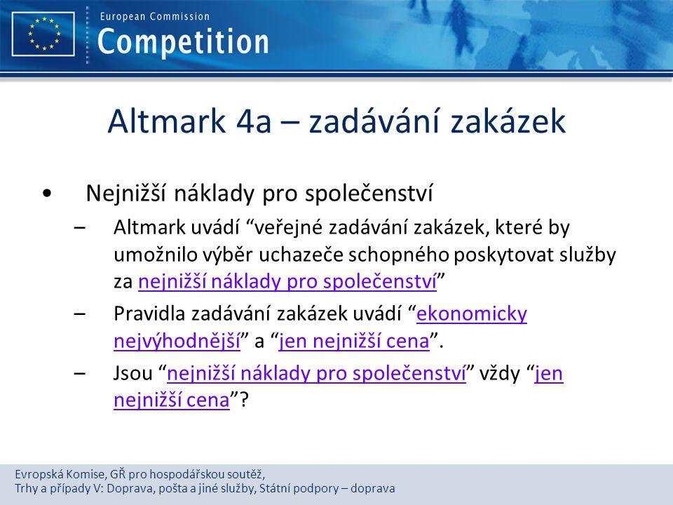 Altmark 4a – zadávání zakázek