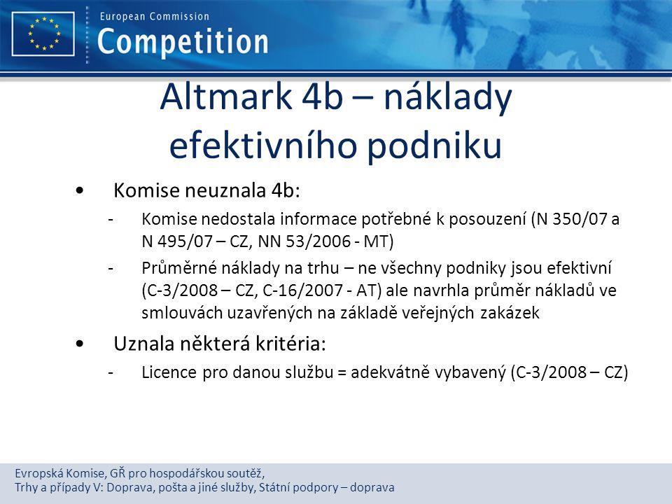 Altmark 4b – náklady efektivního podniku