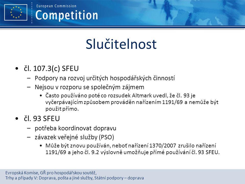 Slučitelnost čl. 107.3(c) SFEU čl. 93 SFEU