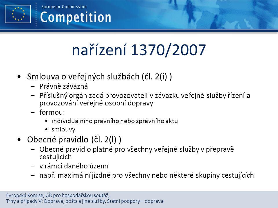 nařízení 1370/2007 Smlouva o veřejných službách (čl. 2(i) )