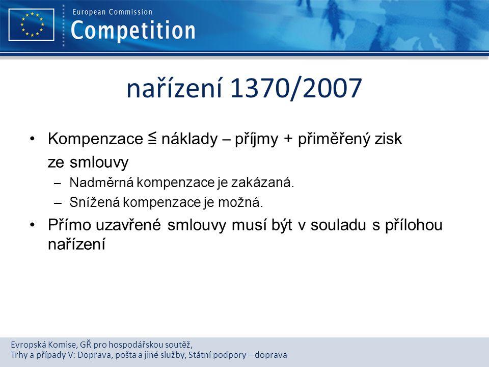 nařízení 1370/2007 Kompenzace ≦ náklady – příjmy + přiměřený zisk