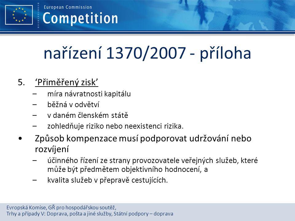 nařízení 1370/2007 - příloha 'Přiměřený zisk'