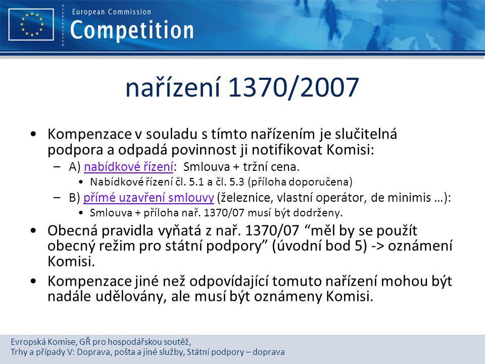 nařízení 1370/2007 Kompenzace v souladu s tímto nařízením je slučitelná podpora a odpadá povinnost ji notifikovat Komisi: