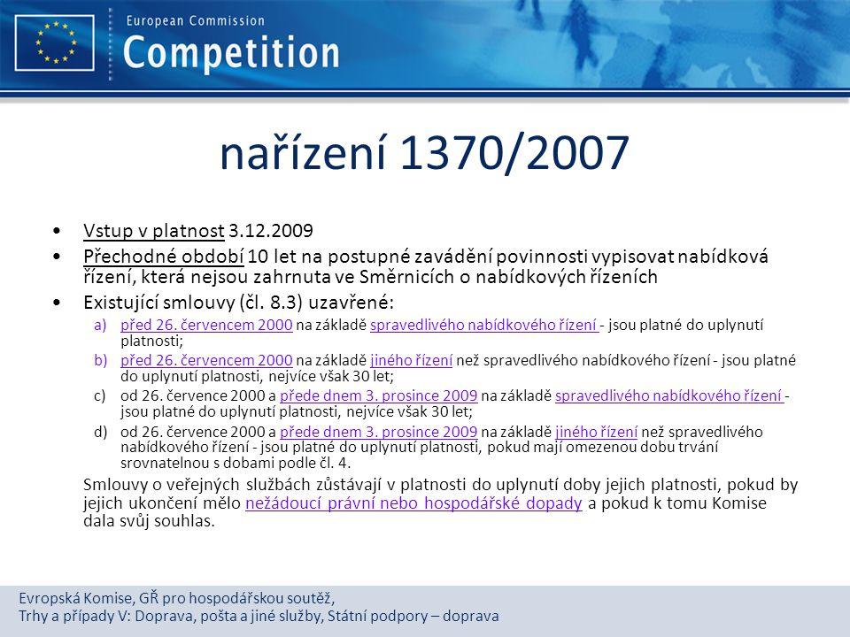 nařízení 1370/2007 Vstup v platnost 3.12.2009