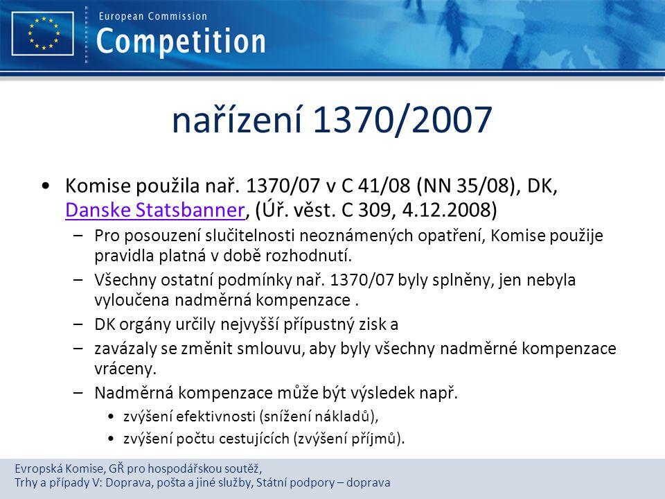 nařízení 1370/2007 Komise použila nař. 1370/07 v C 41/08 (NN 35/08), DK, Danske Statsbanner, (Úř. věst. C 309, 4.12.2008)