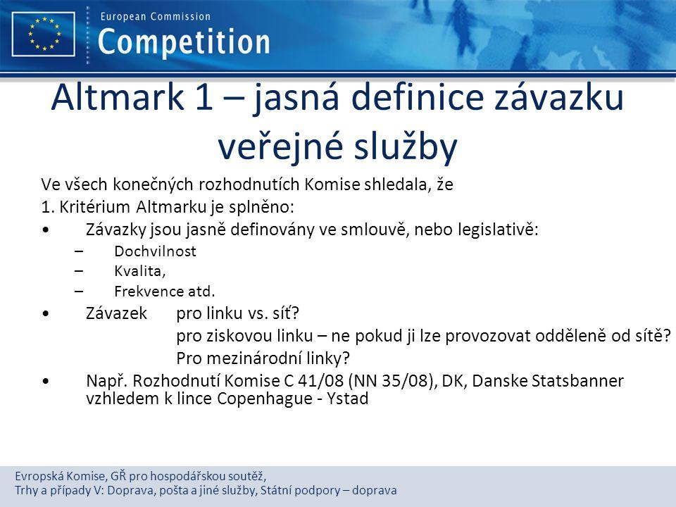 Altmark 1 – jasná definice závazku veřejné služby