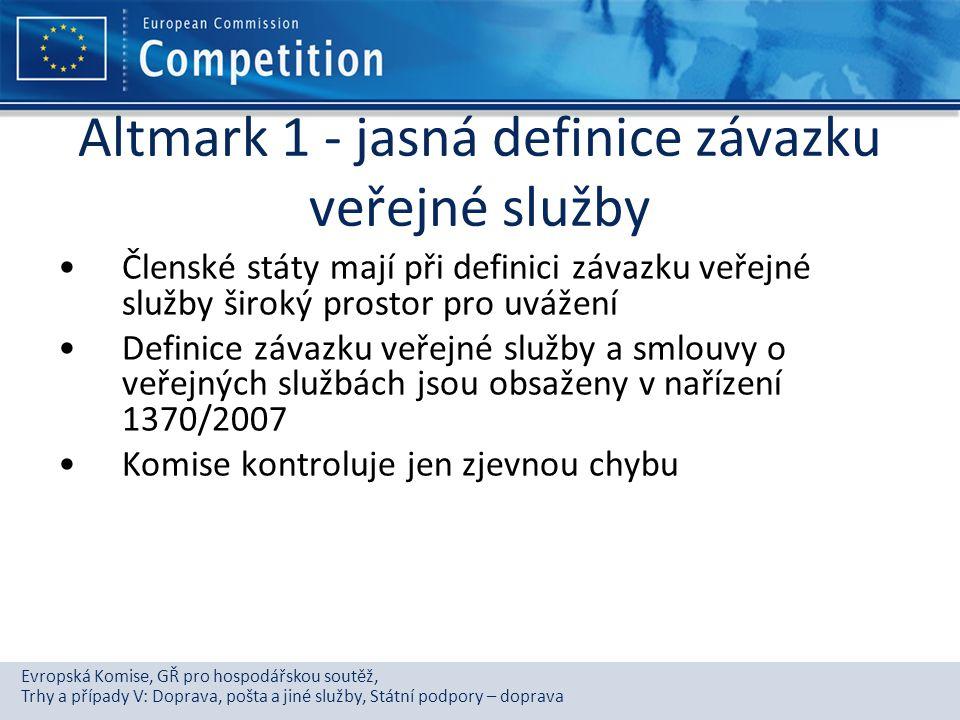 Altmark 1 - jasná definice závazku veřejné služby