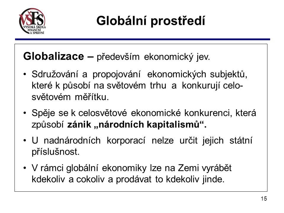 Globální prostředí Globalizace – především ekonomický jev.