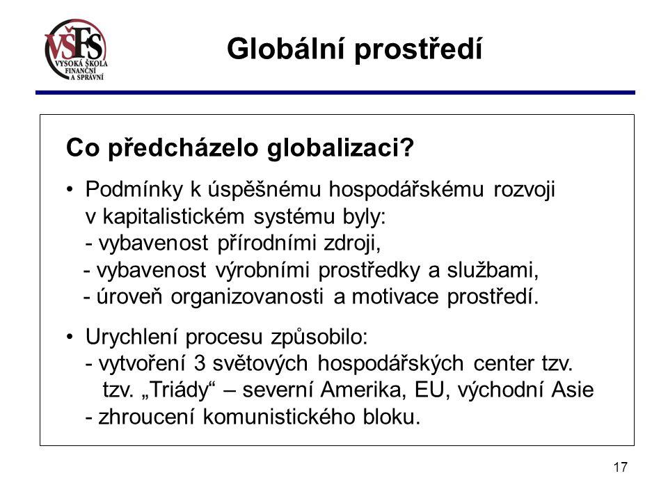 Globální prostředí Co předcházelo globalizaci