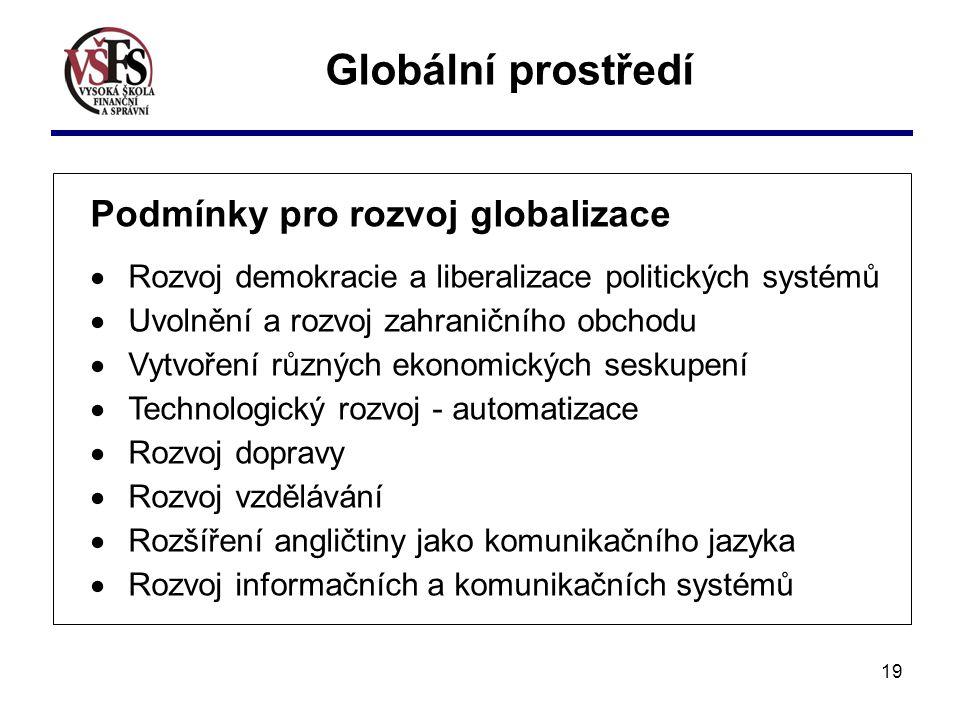 Globální prostředí Podmínky pro rozvoj globalizace