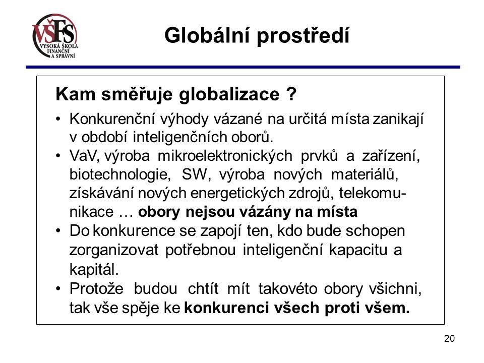 Globální prostředí Kam směřuje globalizace