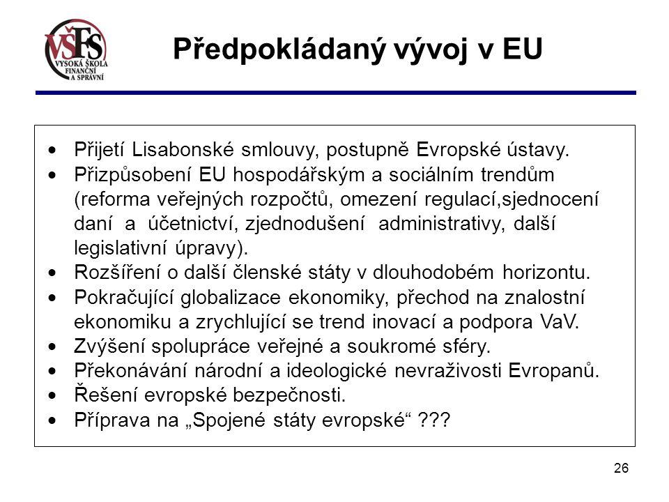 Předpokládaný vývoj v EU