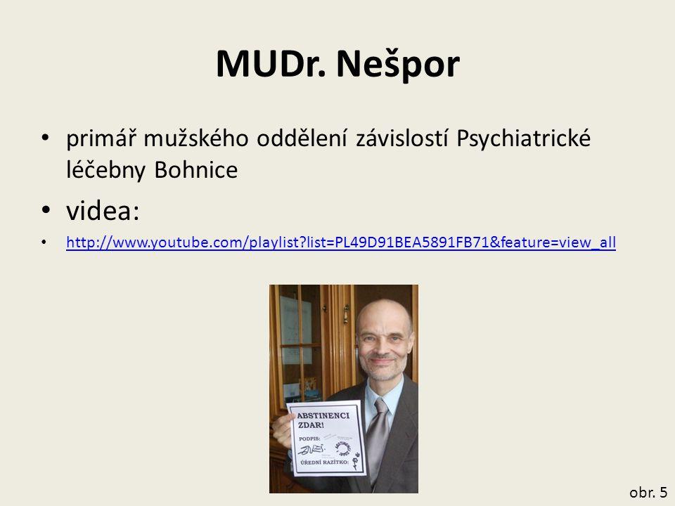 MUDr. Nešpor primář mužského oddělení závislostí Psychiatrické léčebny Bohnice. videa: