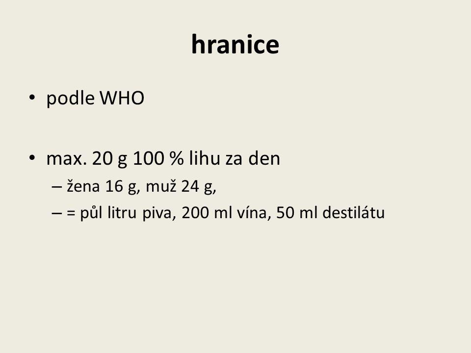 hranice podle WHO max. 20 g 100 % lihu za den žena 16 g, muž 24 g,