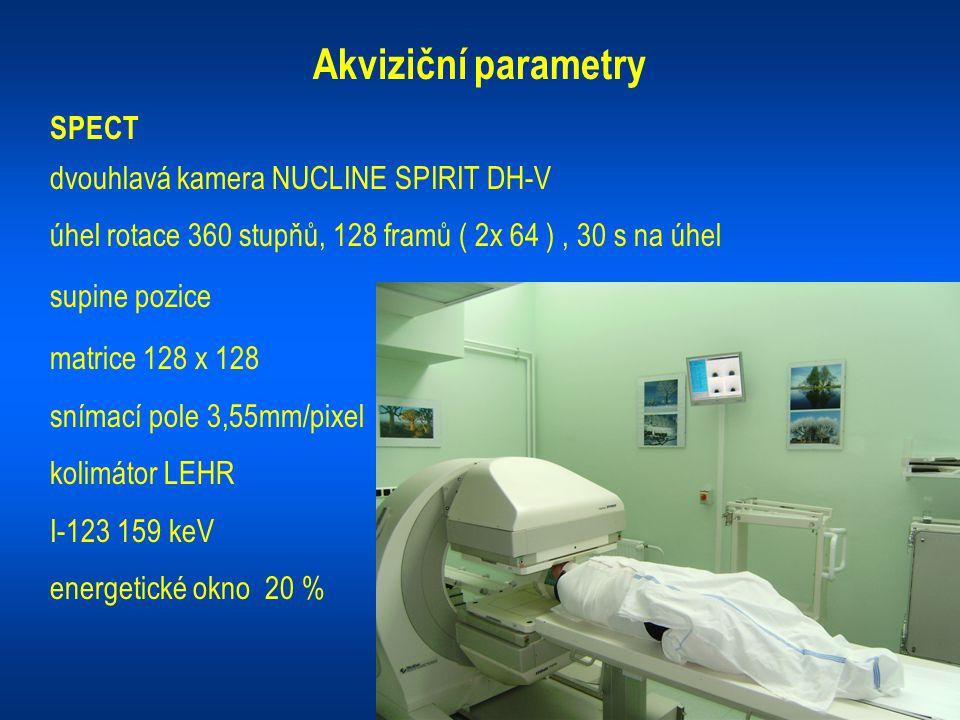 Akviziční parametry SPECT dvouhlavá kamera NUCLINE SPIRIT DH-V