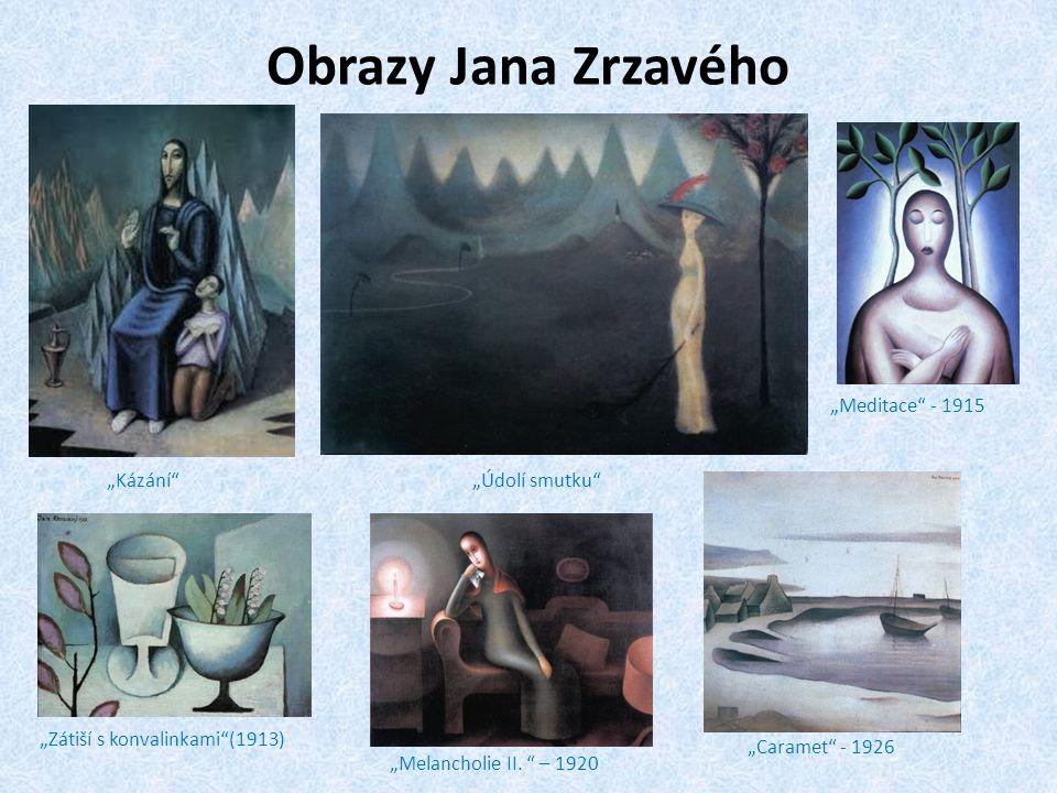 """Obrazy Jana Zrzavého """"Meditace - 1915 """"Kázání """"Údolí smutku"""