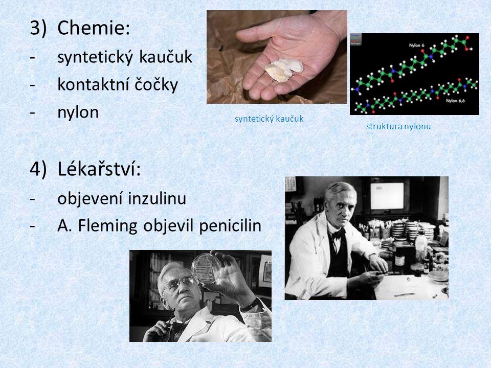 Chemie: Lékařství: syntetický kaučuk kontaktní čočky nylon