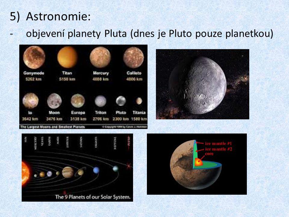 Astronomie: objevení planety Pluta (dnes je Pluto pouze planetkou)