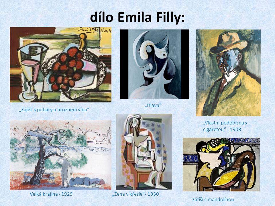"""dílo Emila Filly: """"Hlava """"Zátiší s poháry a hroznem vína"""