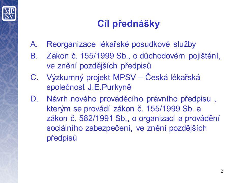 Cíl přednášky Reorganizace lékařské posudkové služby