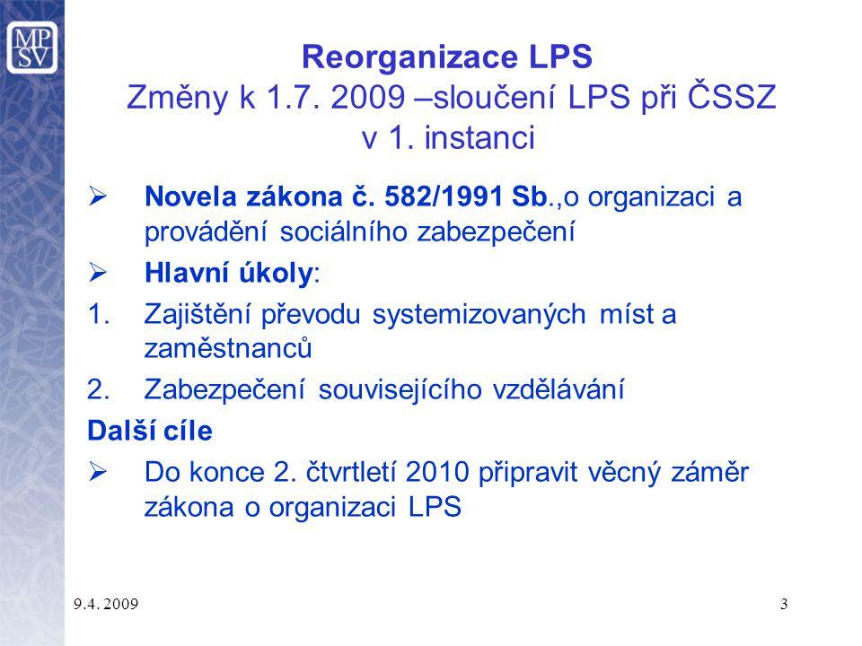 Reorganizace LPS Změny k 1. 7. 2009 –sloučení LPS při ČSSZ v 1
