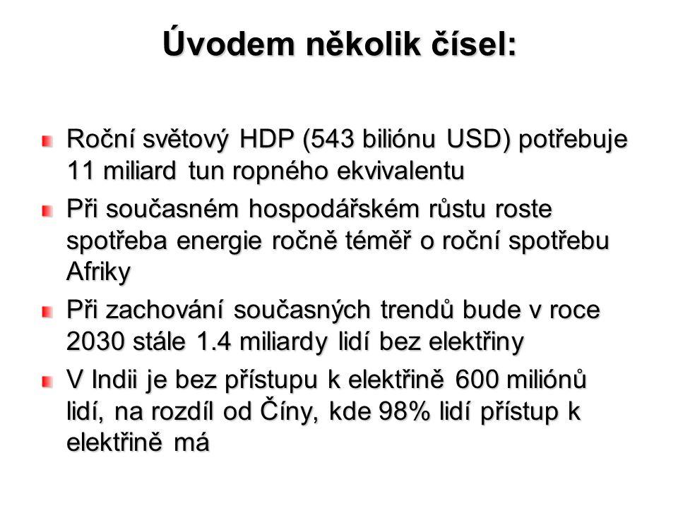 Úvodem několik čísel: Roční světový HDP (543 biliónu USD) potřebuje 11 miliard tun ropného ekvivalentu.