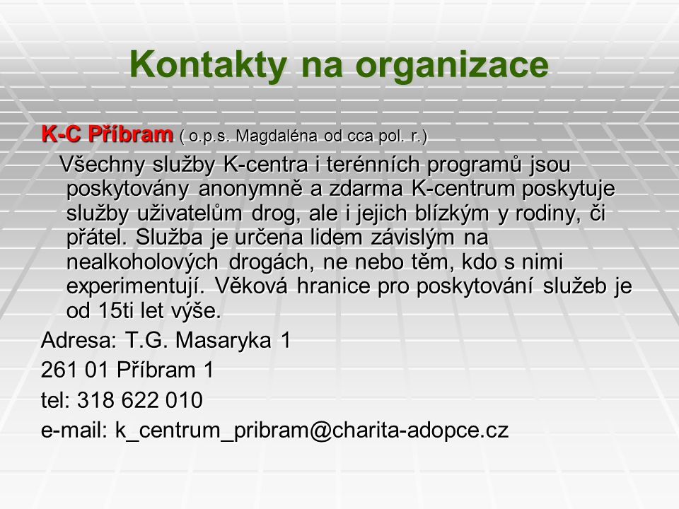 Kontakty na organizace