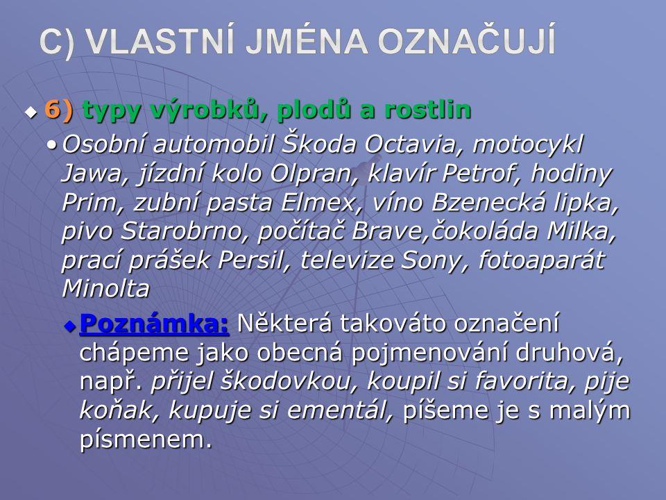 c) Vlastní jména označují