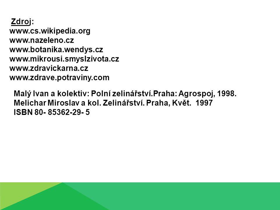 Malý Ivan a kolektiv: Polní zelinářství.Praha: Agrospoj, 1998.