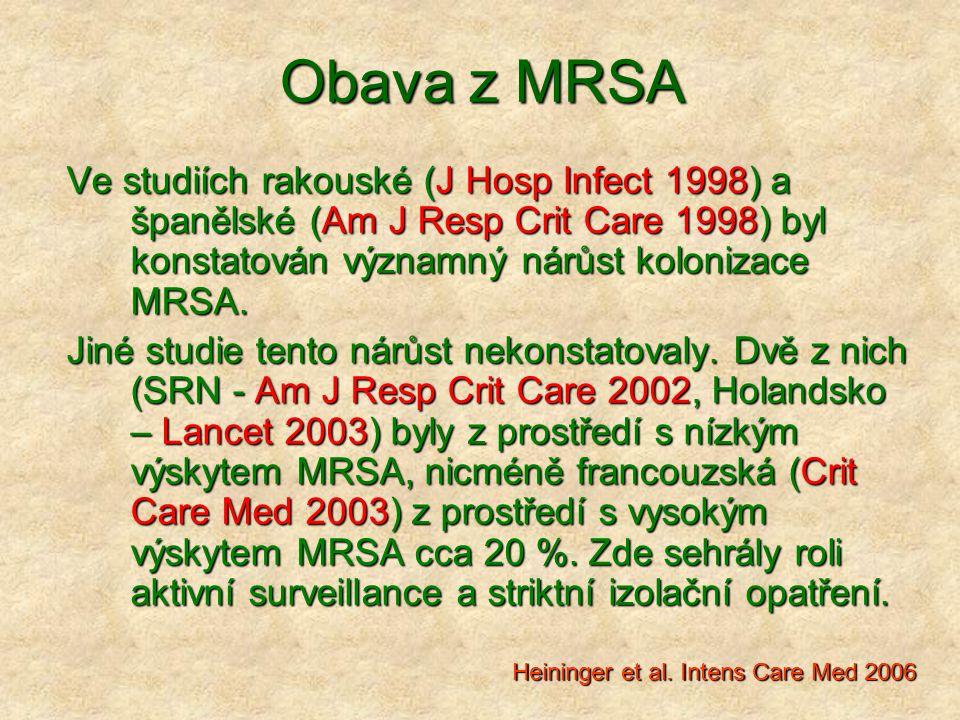 Obava z MRSA Ve studiích rakouské (J Hosp Infect 1998) a španělské (Am J Resp Crit Care 1998) byl konstatován významný nárůst kolonizace MRSA.