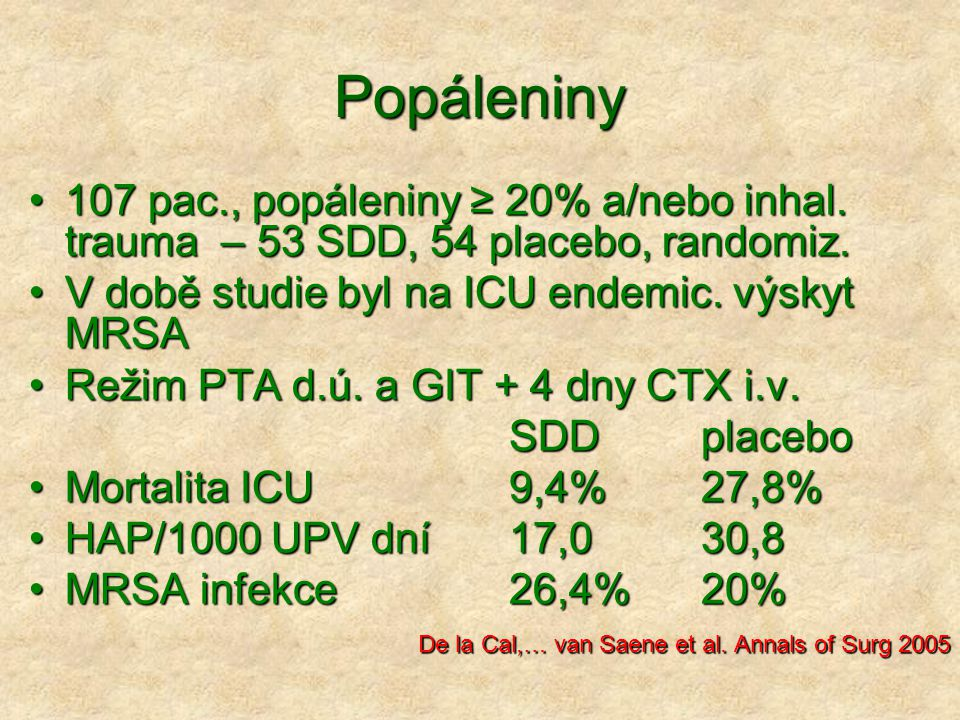 Popáleniny 107 pac., popáleniny ≥ 20% a/nebo inhal. trauma – 53 SDD, 54 placebo, randomiz. V době studie byl na ICU endemic. výskyt MRSA.