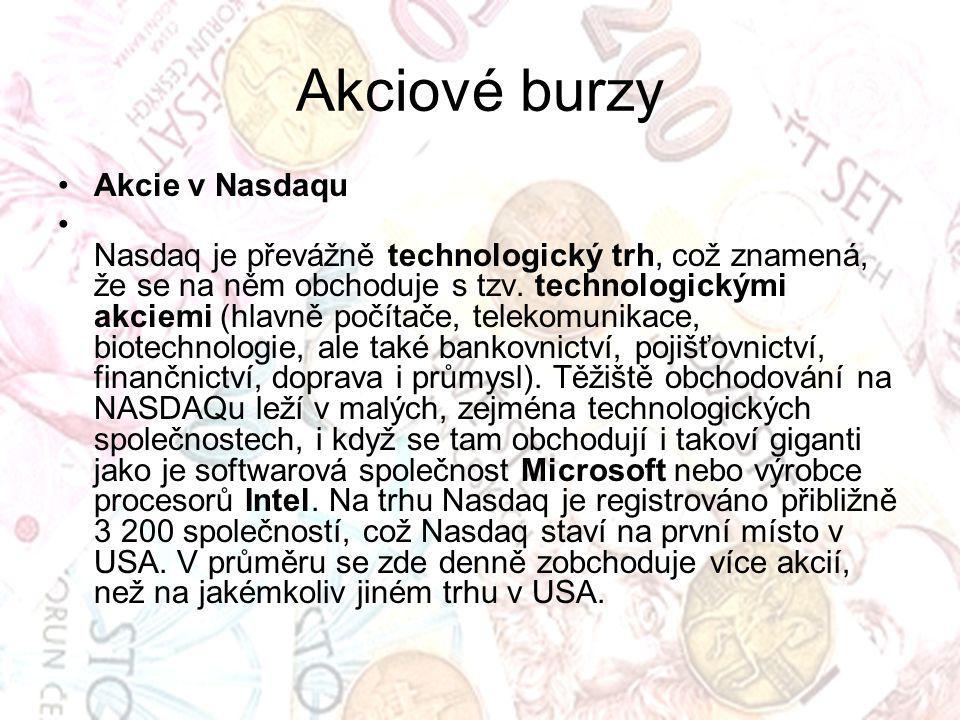 Akciové burzy Akcie v Nasdaqu
