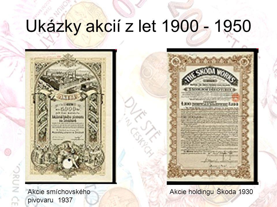 Ukázky akcií z let 1900 - 1950 Akcie smíchovského pivovaru 1937