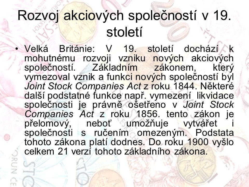 Rozvoj akciových společností v 19. století