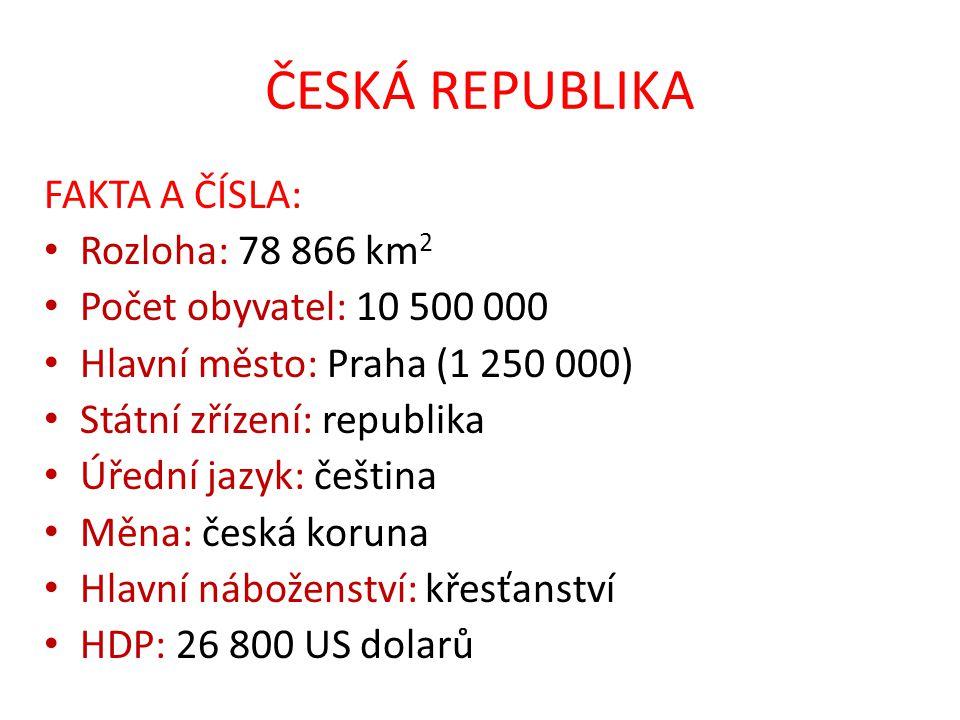 ČESKÁ REPUBLIKA FAKTA A ČÍSLA: Rozloha: 78 866 km2