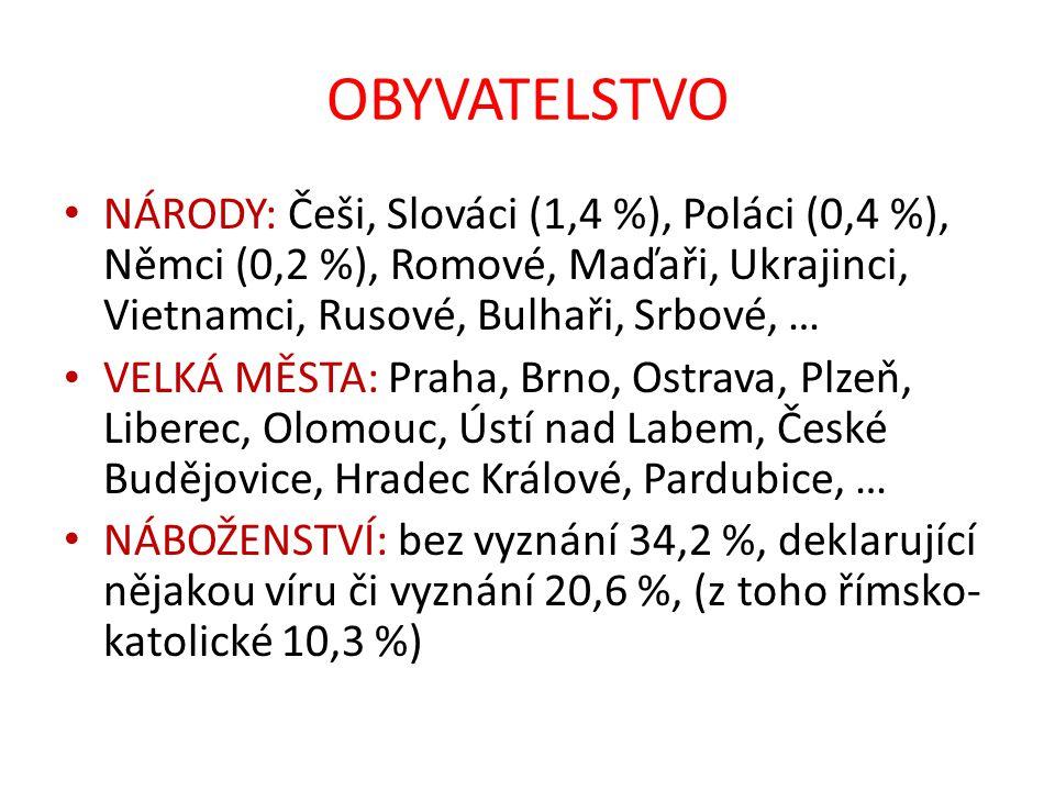 OBYVATELSTVO NÁRODY: Češi, Slováci (1,4 %), Poláci (0,4 %), Němci (0,2 %), Romové, Maďaři, Ukrajinci, Vietnamci, Rusové, Bulhaři, Srbové, …
