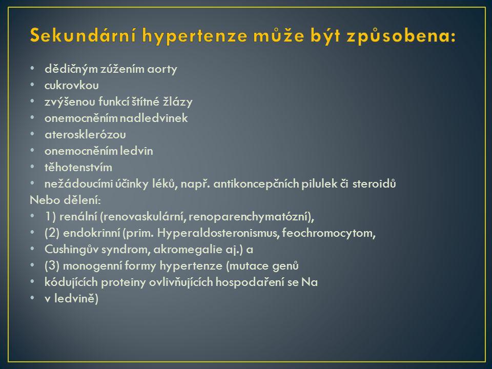 Sekundární hypertenze může být způsobena: