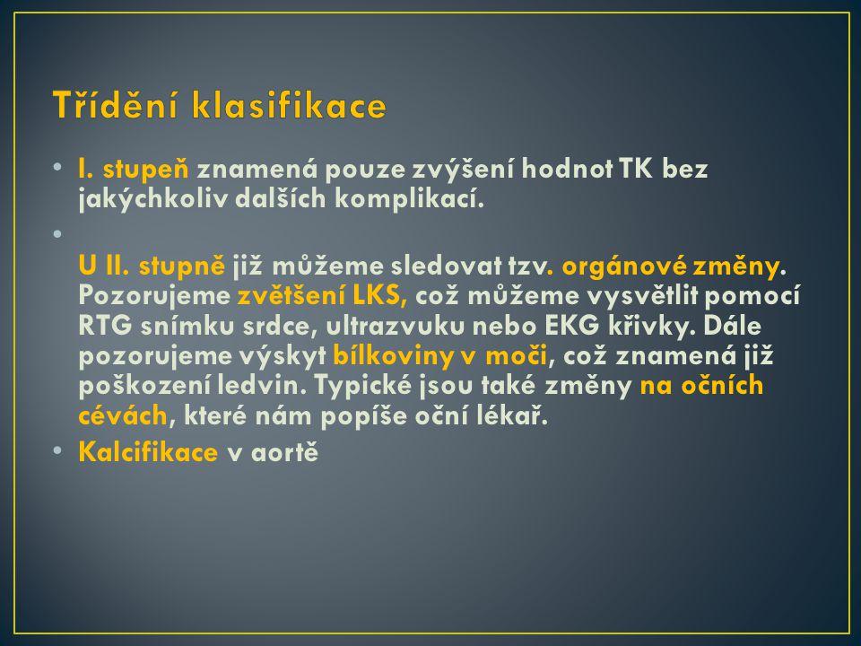 Třídění klasifikace I. stupeň znamená pouze zvýšení hodnot TK bez jakýchkoliv dalších komplikací.