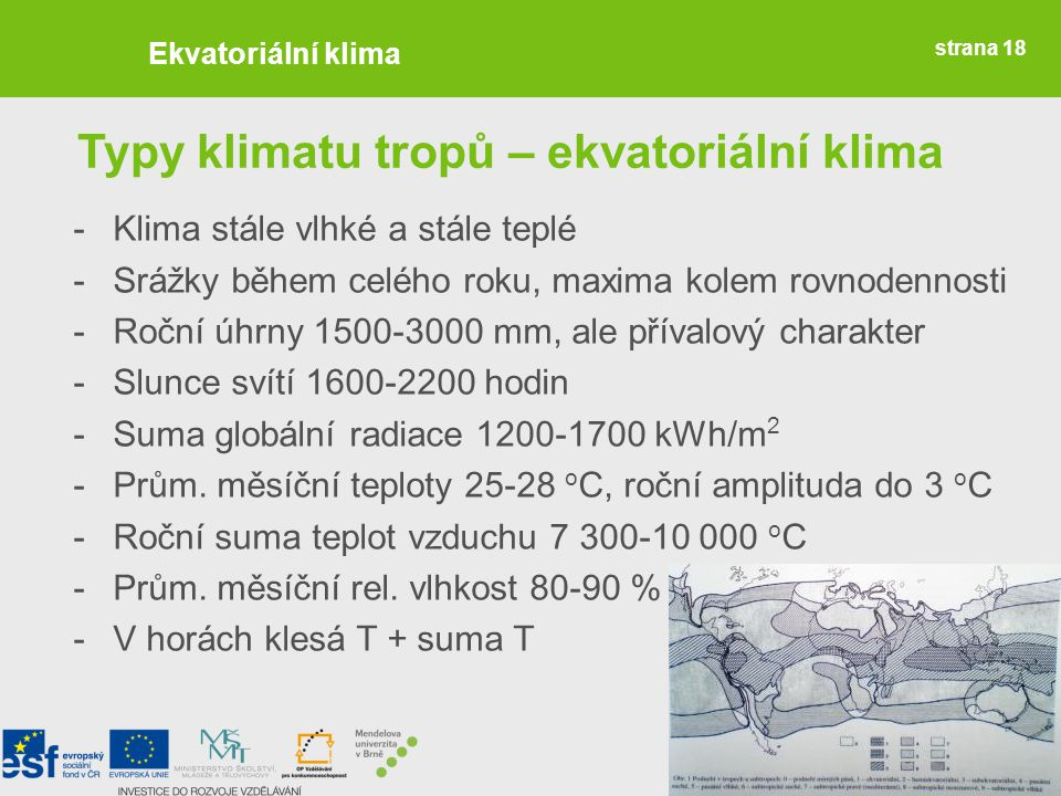 Typy klimatu tropů – ekvatoriální klima